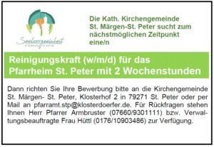 Reinigungskraft für das Pfarrheim St. Peter gesucht