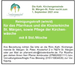 Reinigungskraft für Pfarrkirche und Pfarrhaus in St. Märgen gesucht
